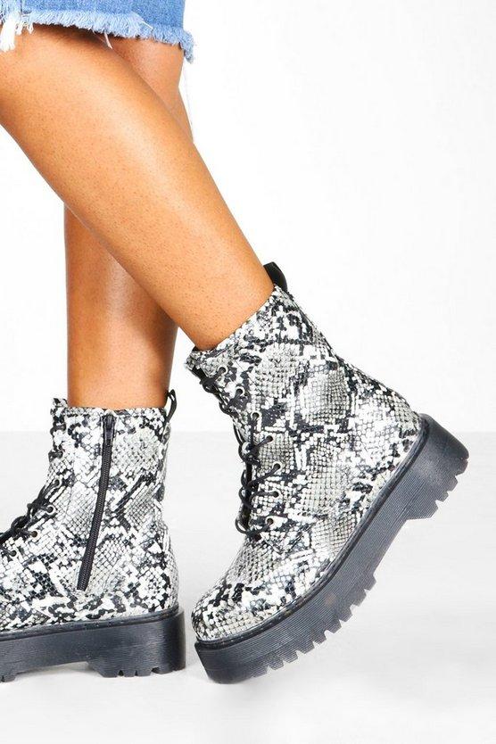 Snake Chunky Platform Hiker Boots