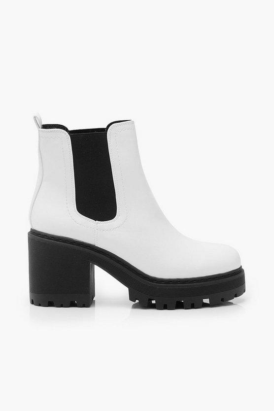 Chunky Block Heel Chelsea Boots