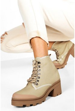 Womens Beige Canvas Block Heel Chunky Hiker Boots