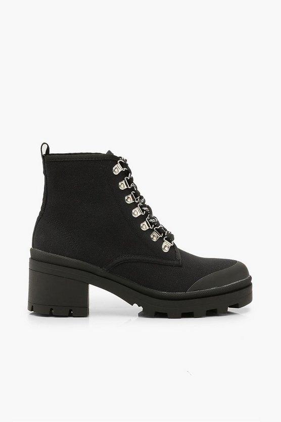 Canvas Block Heel Chunky Hiker Boots