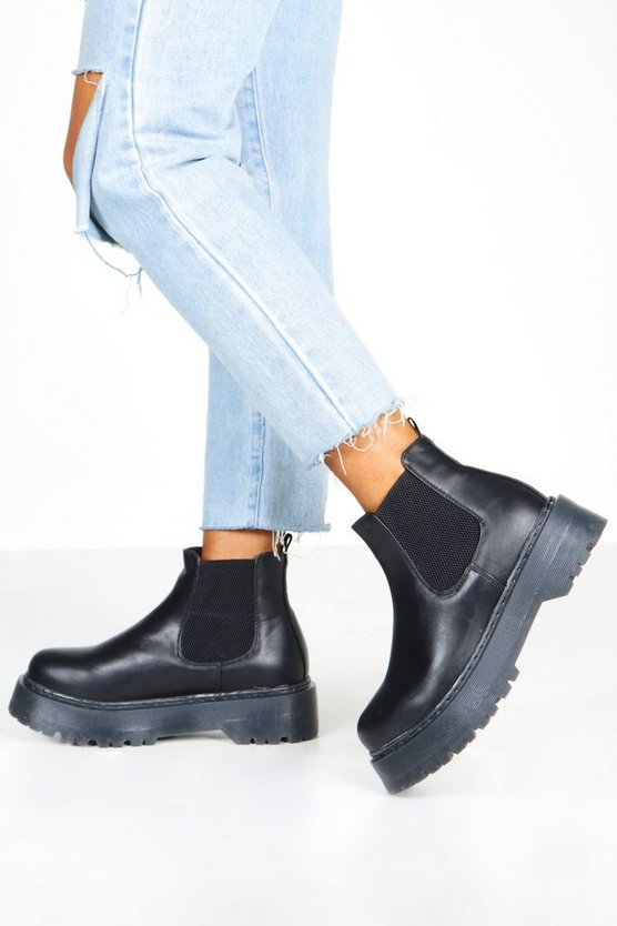 Black Wide Fit Chunky Platform Chelsea Boots