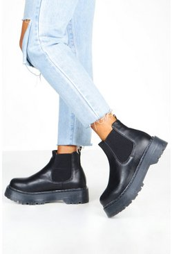 Womens Black Wide Fit Chunky Platform Chelsea Boots