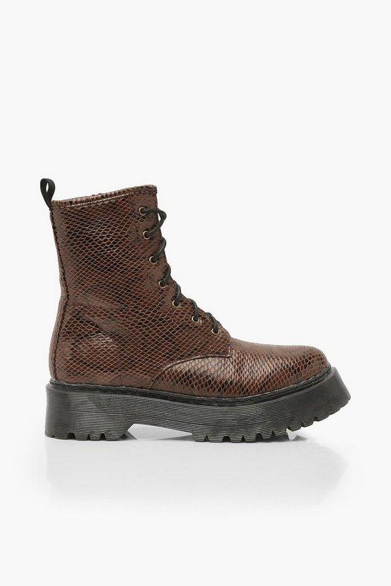 Wide Fit Snake Platform Hiker Boots