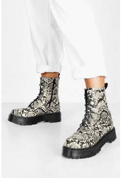 Womens Natural Wide Fit Snake Platform Hiker Boots