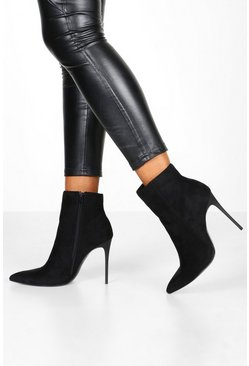 Womens Black Stiletto Heel Pointed Toe Ankle Boots