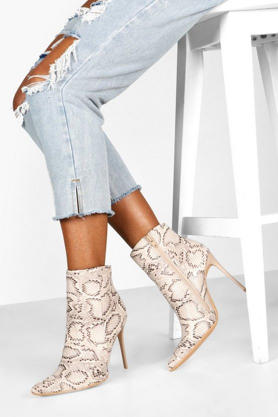 Snake Stiletto Heel Pointed Toe Ankle Boots