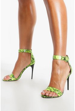 Womens Lime Snake Print Stiletto Heel 2 Parts