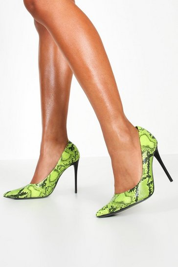 Lime Neon Snake Print Stiletto Heel Courts