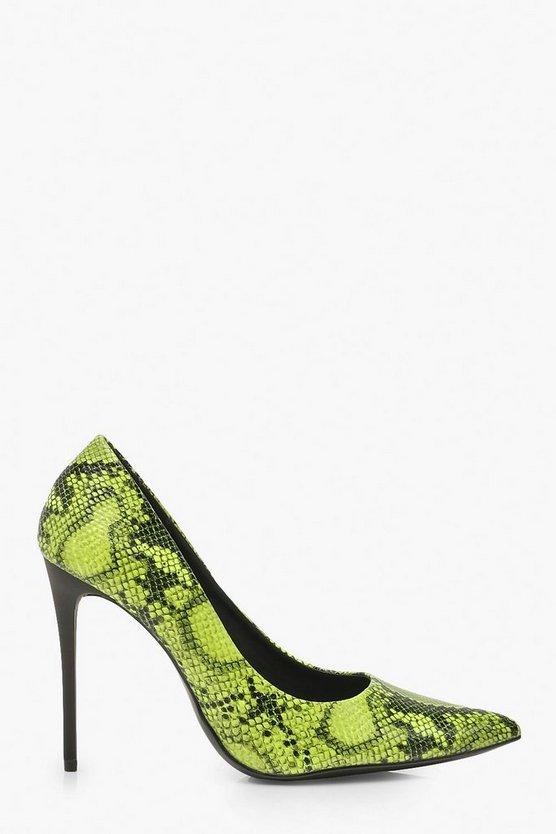 Neon Snake Print Stiletto Heel Courts