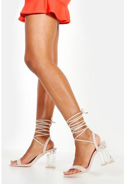 Womens Nude Clear Low Heel Wrap Sandals