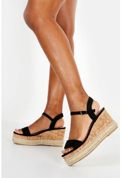 Womens Black Studded Cork 2 Part Wedges