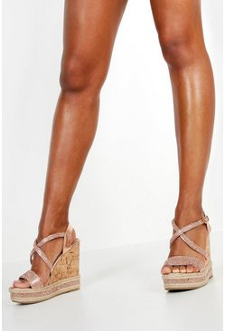 Womens Rose gold Embellished Cork Wedges