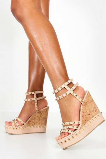 Womens Nude Studded Cork Wedges