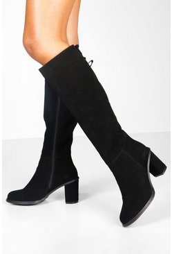Womens Black Suede Block Heel Knee High Boots
