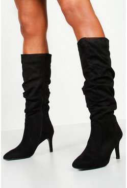 Womens Black Rouched Knee High Stiletto Boots