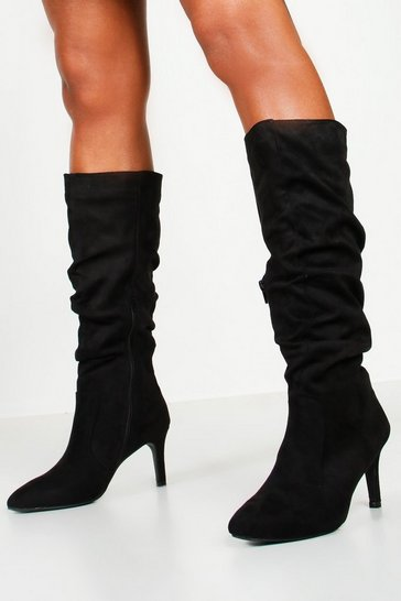 Black Rouched Knee High Stiletto Boots