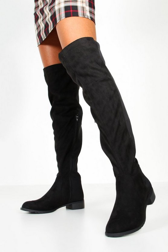 Black Over The Knee Elastic Back Boots