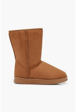 Womens Tan Faux Fur Lined Cosy Boots