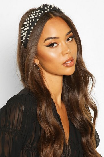 Womens Black Premium Pearl Embellished Knot Headband