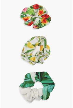 Womens Multi Mixed Summer Print Scrunchie 3 Pack
