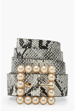 Womens Multi Pearl Buckle Snake Belt