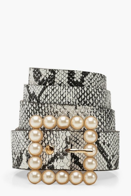 Pearl Buckle Snake Belt by Boohoo