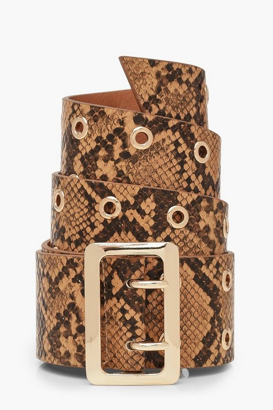 Gold Buckle Snake Belt by Boohoo