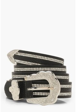 Womens Black Diamante Western Buckle Belt