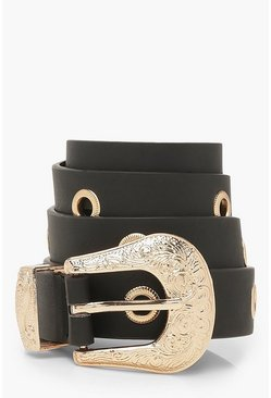 Womens Black Patterned Gold Buckle Belt