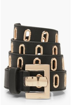 Womens Black Gold Buckle Waist Belt