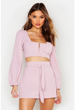 Womens Pink Check Tie Front Blouson Sleeve Crop Top