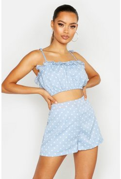 Womens Blue Polka Dot Flippy Hem Shorts