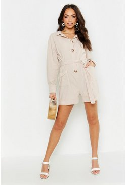 Womens Ecru Button Through Utility Romper