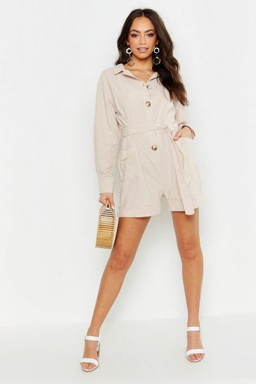 Womens Ecru Button Through Shirt Utility Playsuit
