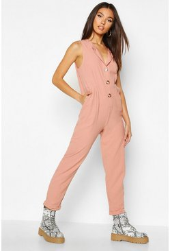 Rose Button Through Linen Look Relaxed Jumpsuit