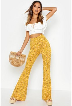 Womens Mustard Ditsy Floral Jersey Trousers
