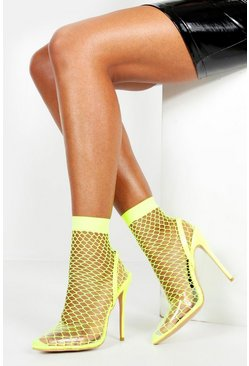 Womens Yellow Fishnet Slingback Pointed Toe Heels