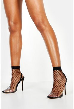 Womens Black Fishnet Slingback Pointed Toe Heels