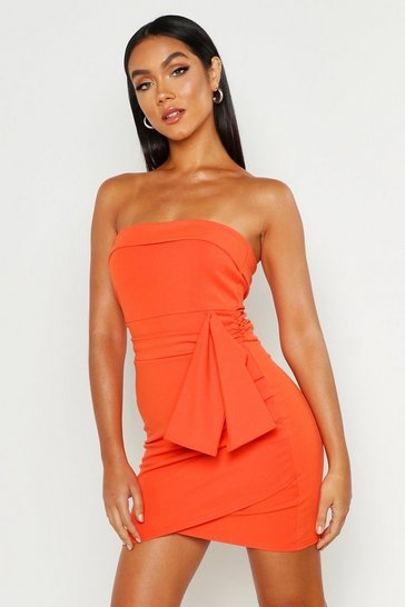 Womens Orange Bandeau Tie Detail Mini Dress