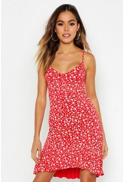Womens Red Ditsy Floral Bow Front Shift Dress