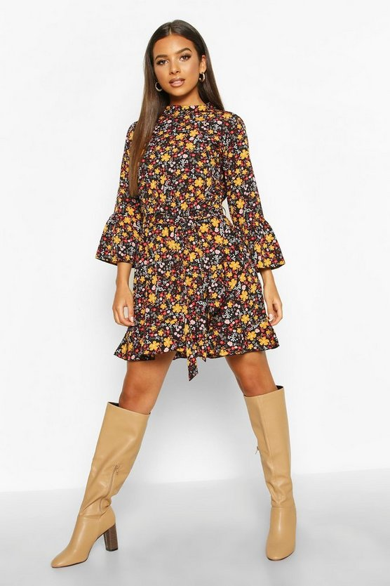 Black Retro Ditsy Floral High Neck Tea Dress