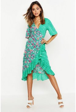 Womens Green Woven Mixed Print Ruffle Tea Midi Dress