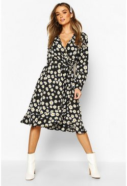 Black Woven Floral Wrap Midi Tea Dress
