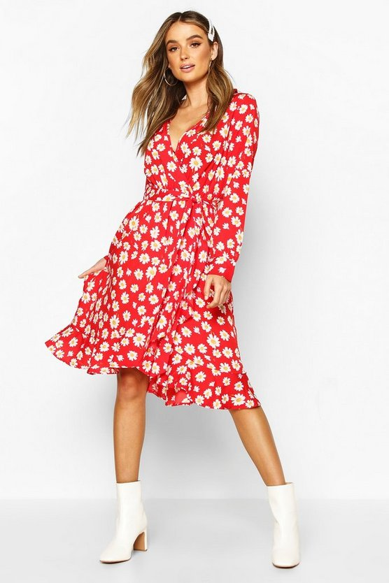 Red Woven Floral Wrap Midi Tea Dress