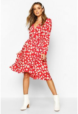 Womens Red Woven Floral Wrap Midi Tea Dress