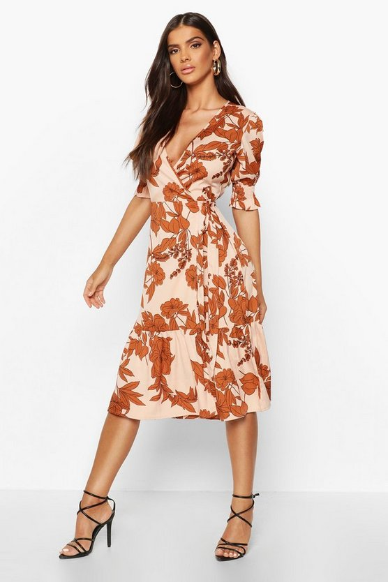 Woven Floral Sheered Sleeve Midi Tea Dress Woven Floral Sheered Sleeve Midi Tea Dress by Boohoo