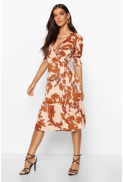 Womens Pink Woven Floral Sheered Sleeve Midi Tea Dress