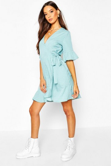 Womens Turquoise Ditsy Heart Print Tea Dress