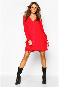 Red Long Sleeve V Neck Button Shift Dress