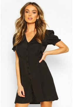 Black Woven Sheered Sleeve Button Shift Dress